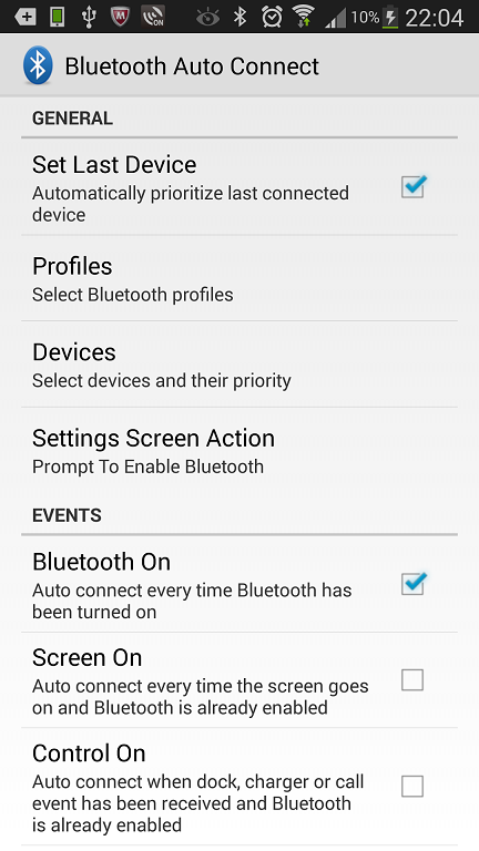 Bluetooth Auto Connect Settings