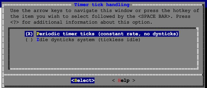 カーネル設定画面-Periodic timer ticks
