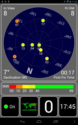 Nexus7のGPS Test画面