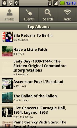 lastfm アプリの画面