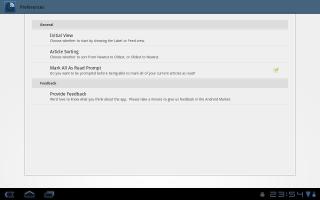 newsr アプリの設定画面