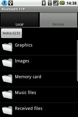 Nokiaの携帯とのBluetooth転送画面