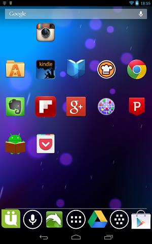 Nexus7でNova Launcherのアイコンサイズを130%にしたところ