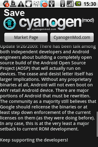 Save CyanogenMod Petition アプリの画面