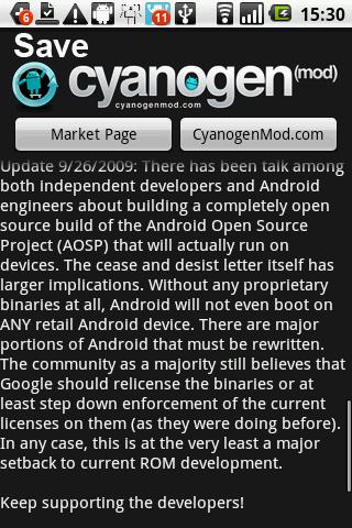 Save CyanogenMod Petition アプリの画面