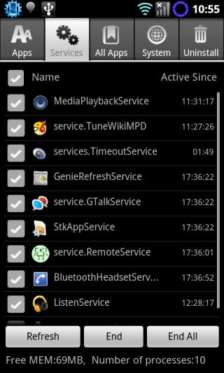 Advanced Task Manager のサービス一覧画面