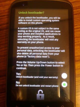Nexus One の Bootloader Unlock 画面